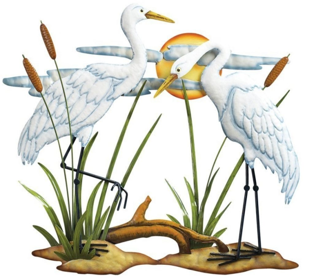 White Tin Wall Decor : Hand painted white cranes metal wall art fresh garden decor