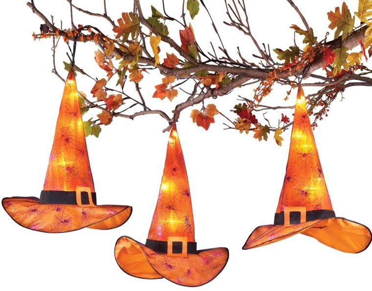 Lighted Halloween Witch Hat Decorations