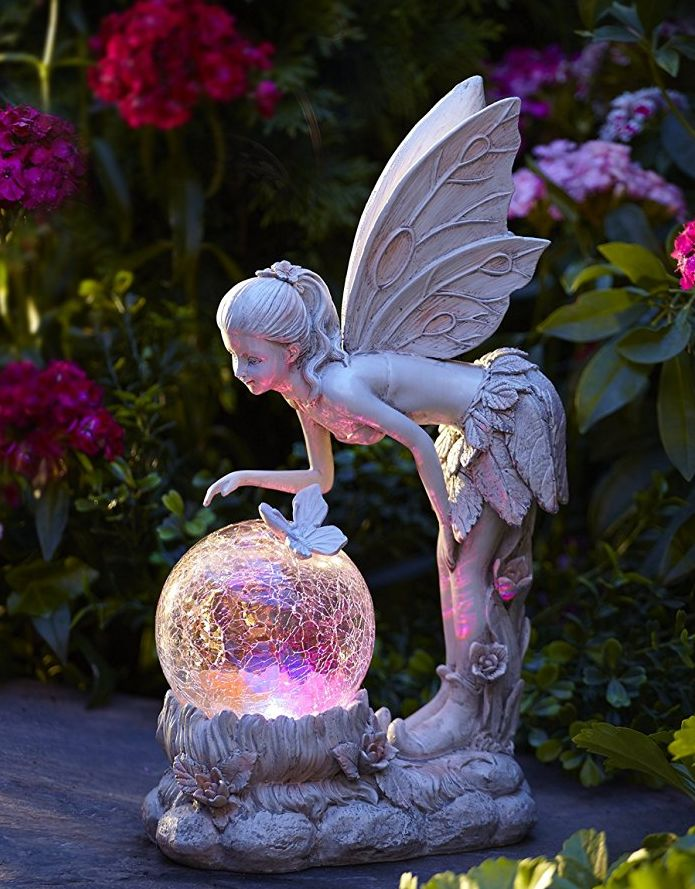 Solar Color-Changing LED Light Standing Pixie with Globe Fresh Garden Decor