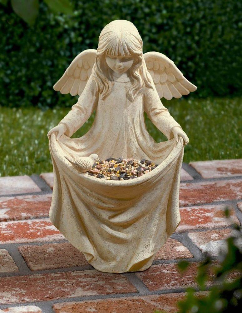 Road Villa Cherub Girl Birdfeeder Statuary