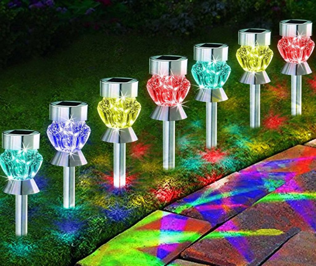 Solar Path Lights Outdoor Diamond Shaped Sparkling Color Changing Fresh Garden Decor