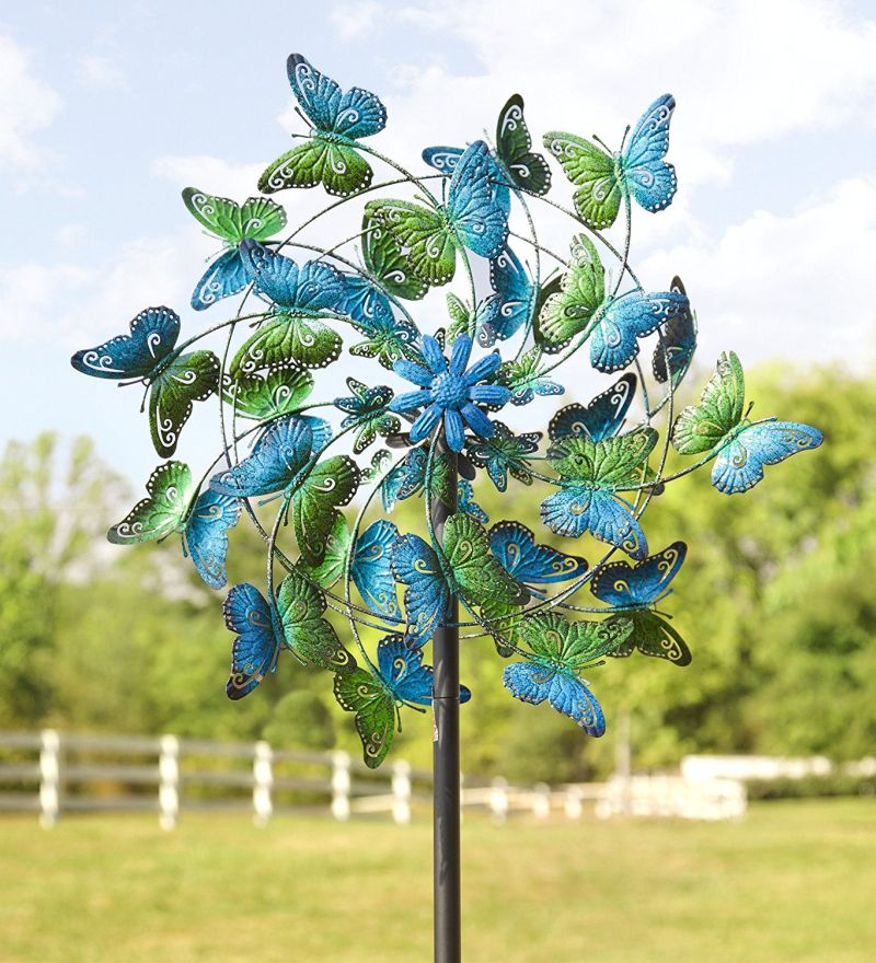 Butterflies Metal Wind Spinner Fresh Garden Decor