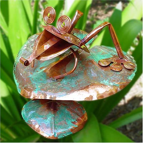 Copper Frog on Lily Pad Sculpture & Garden Stake