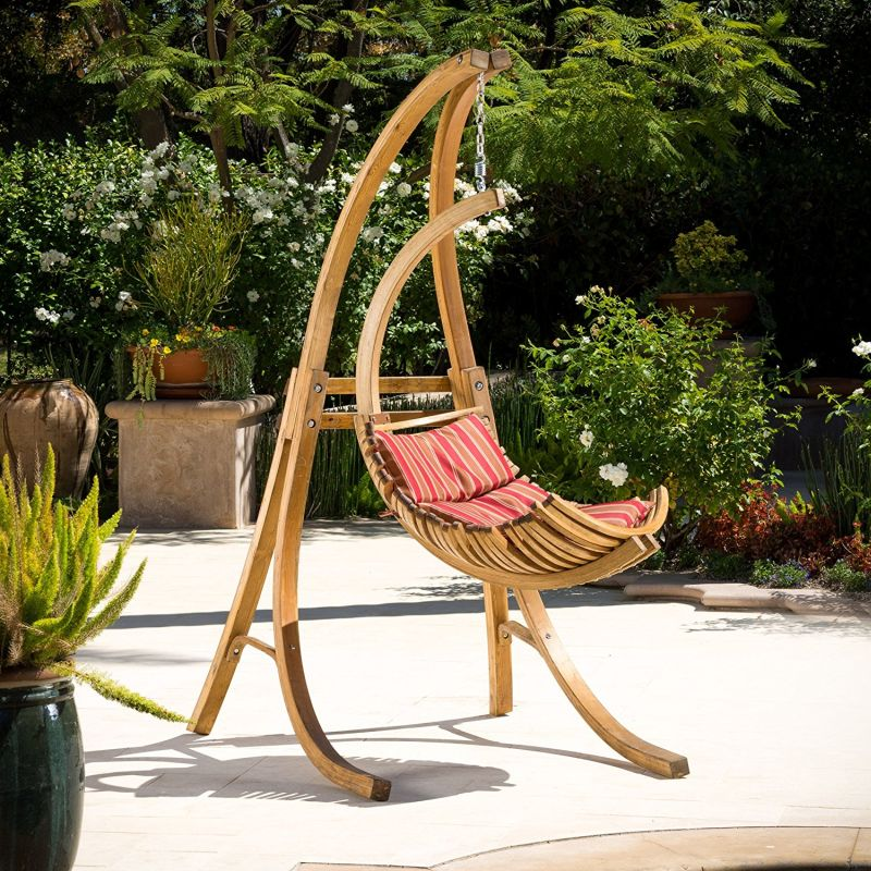Crystal Bay Outdoor Teak Stained Wood Swinging Chair w/ Cushion