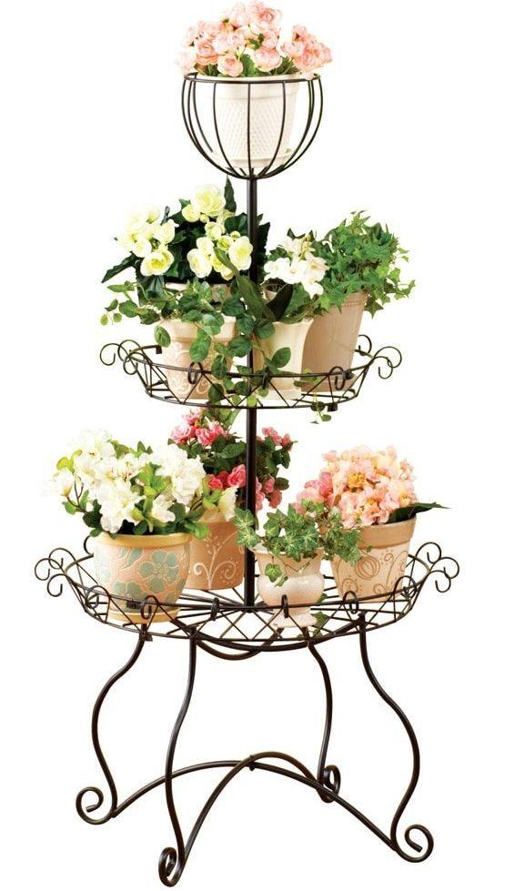 Elegant Scroll 3 Tier Plant Stand Fresh Garden Decor