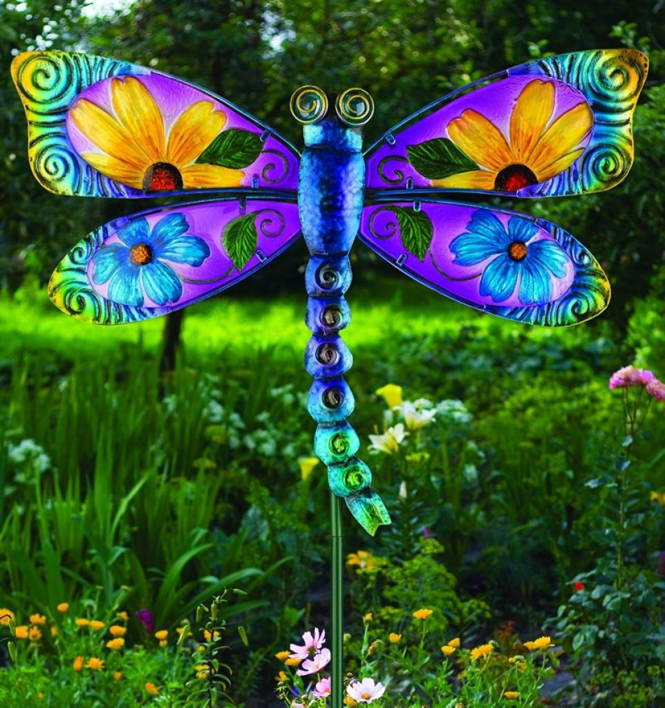 Floral Dragonfly Stake Fresh Garden Decor