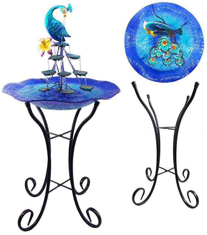 Peacock Water Fountain Tabletop Garden Decor