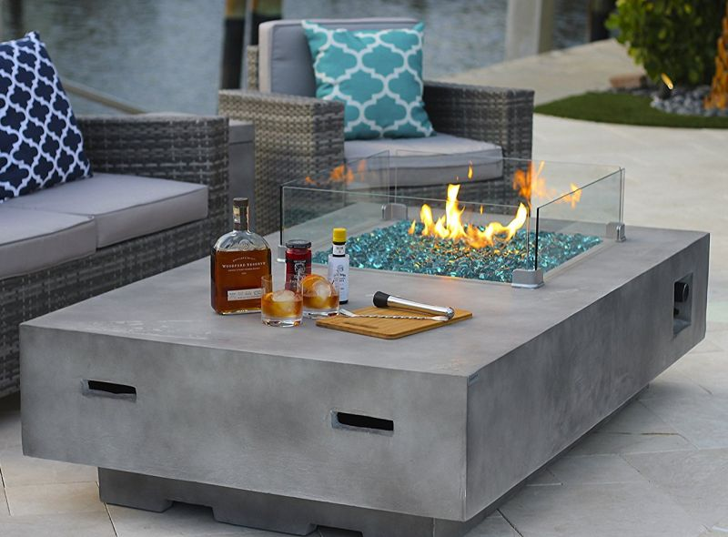 Rectangular Modern Concrete Fire Pit Table w/ Glass Guard and Crystals Set