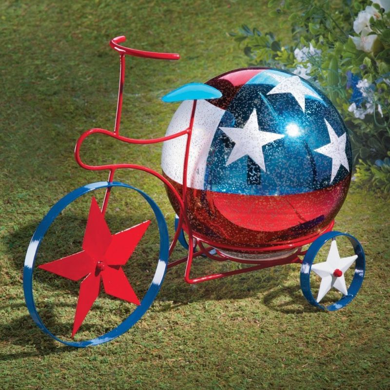 Lighted Americana Bicycle With Mercury Glass Ball