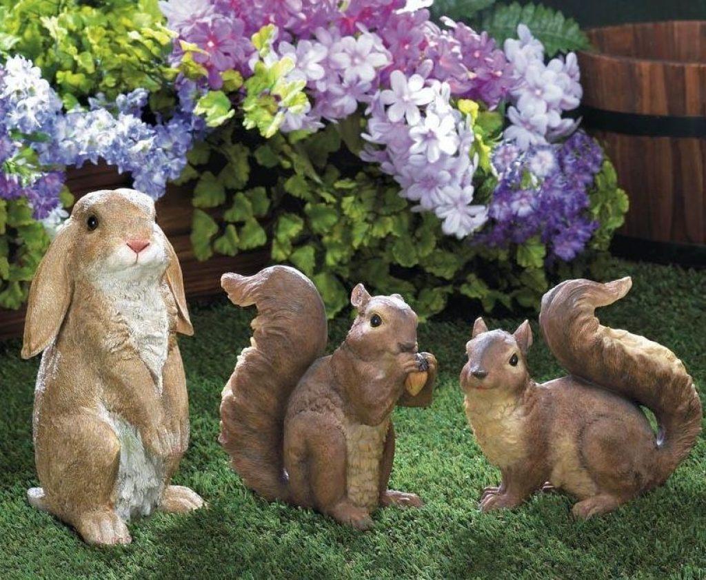 rabbit and squirrel trio garden statues fresh garden decor