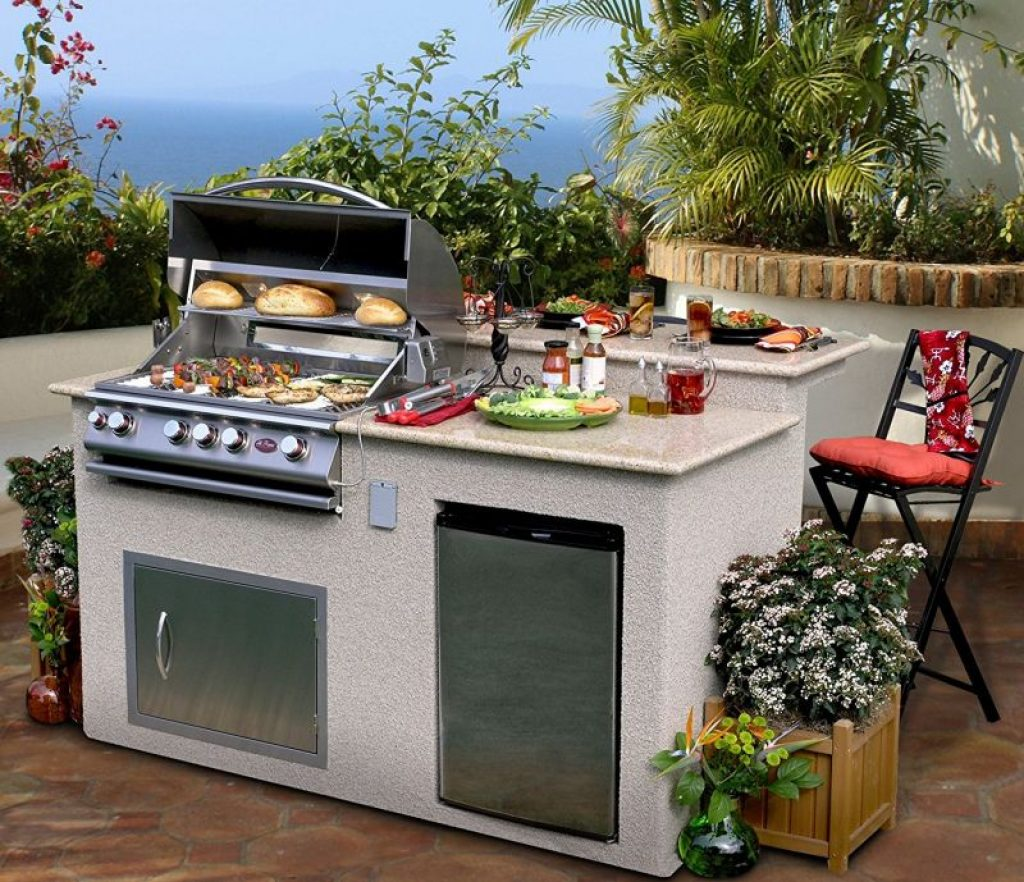 Outdoor Kitchen 4-Burner Barbecue Grill Island With ... on Backyard Patio Grill Island id=56061