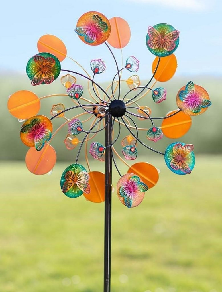 Vibrant Colors Metal Butterfly Wind Spinner Fresh Garden