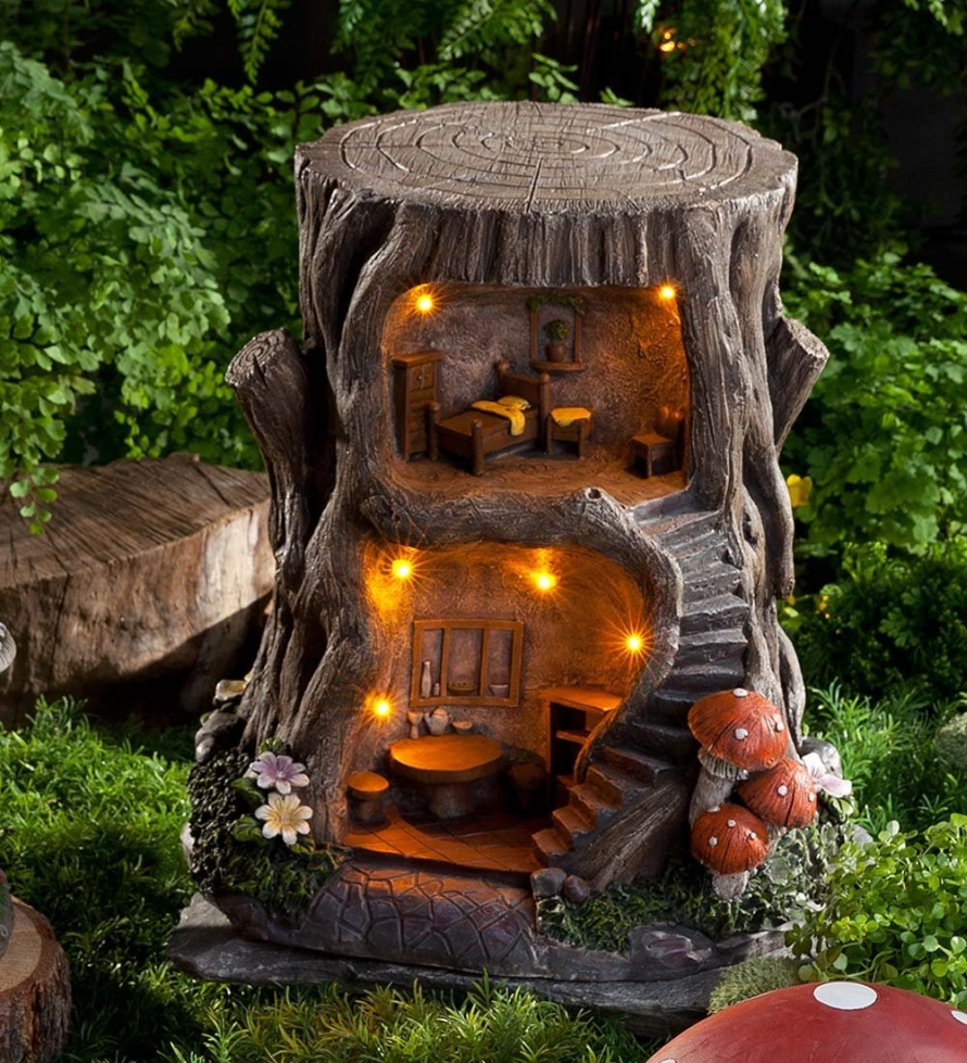 Outdoor decorative garden two story lighted fairy house for Decorative garden accents