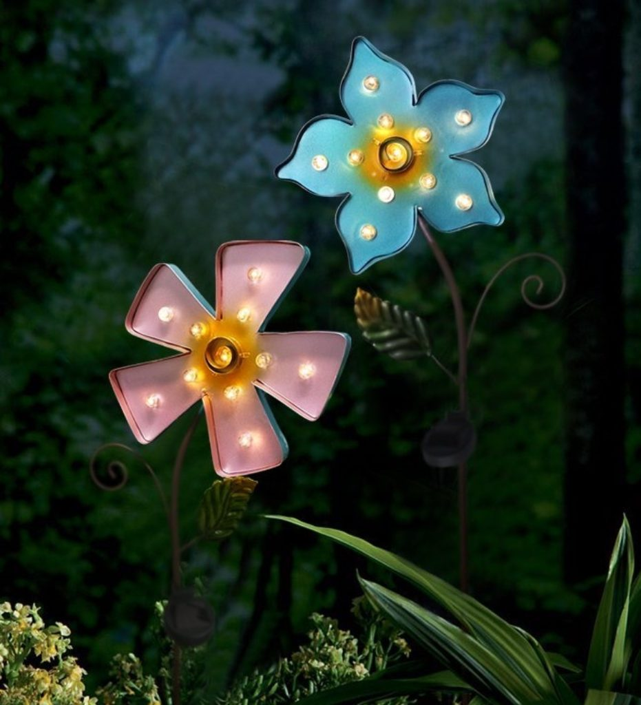 Flower led solar lights outdoor patio lights solar powered - Decorative garden lights solar powered ...