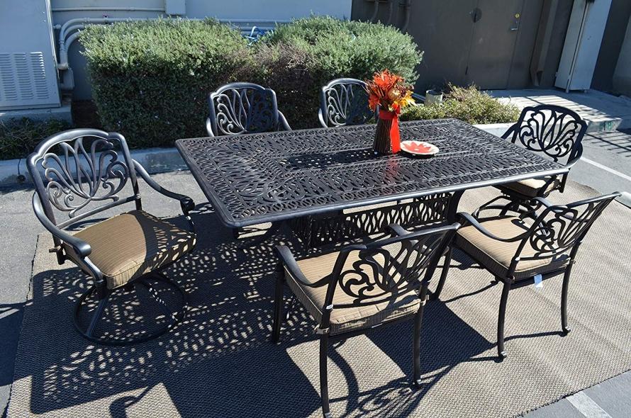 Elizabeth outdoor patio 7 pc dining set fresh garden decor for Outdoor patio accessories