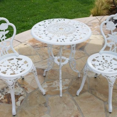 3-Piece Rose Bistro Set with 24-Inch Top Table