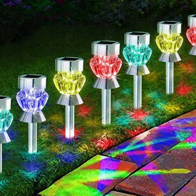 Solar Path Lights Outdoor Diamond Shaped Sparkling Color Changing