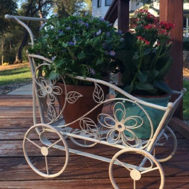Antique White Carriage Shaped Plant Stand