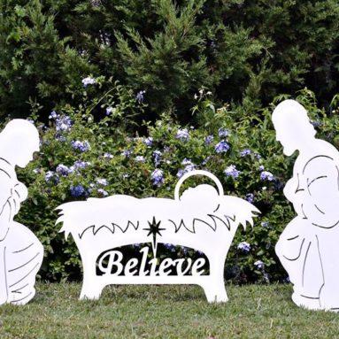 Believe Holy Family Outdoor Nativity Set