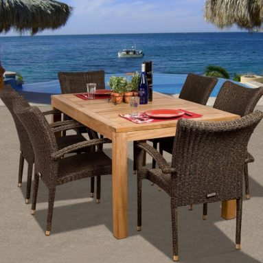 Brussels 7-Piece Teak/Wicker Rectangular Dining Set