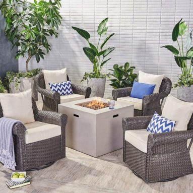 Bryson Outdoor 4 Piece Swivel Club Chair Set