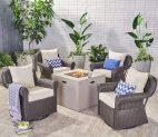 Bryson Outdoor 4 Piece Swivel Club Chair Set