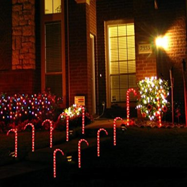 Christmas Candy Cane Pathway Markers Set