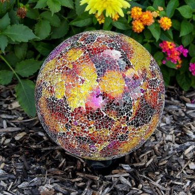 Colorful Mosaic Glass Gazing Ball