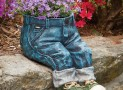 Decorative Denim Planter-Polyresin Jeans Sculpture
