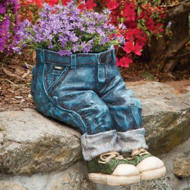 Decorative Denim Planter-Polyresin Jeans Sculpture