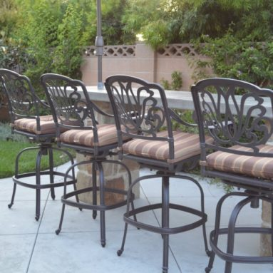Elizabeth Outdoor Patio Set 4pc Swivel Bar Stools 30 Cast Aluminum Dark Bronze