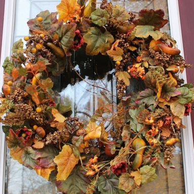 Fall Pumpkin and Autumn Berry Door Wreath