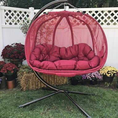 Flower House Hanging Pumpkin Loveseat Chair with Stand