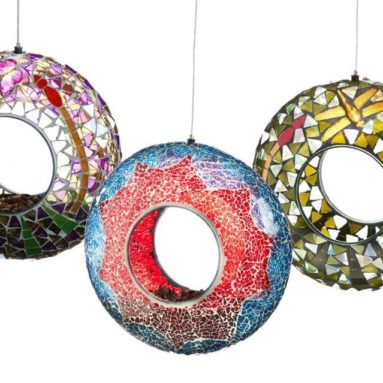 Garden Burst Mosaic Glass Circle Bird Feeders