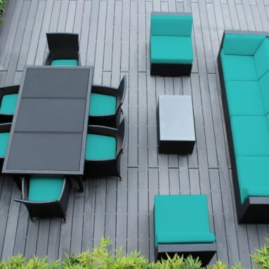 Sofa and Dining Wicker Patio Furniture Set