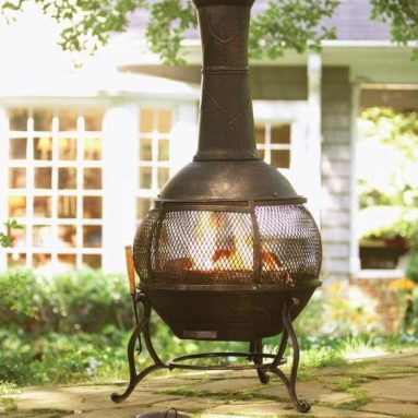 Hampton Bay Cast Iron Chiminea with Screen and Fire Poker