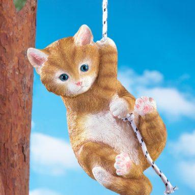 Hand-Painted Outdoor Swinging Cat Decor