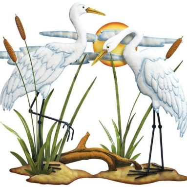 Hand-painted White Cranes Metal Wall Art