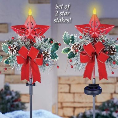 Holiday Star Solar Lighted Garden Stakes with Candle Flame