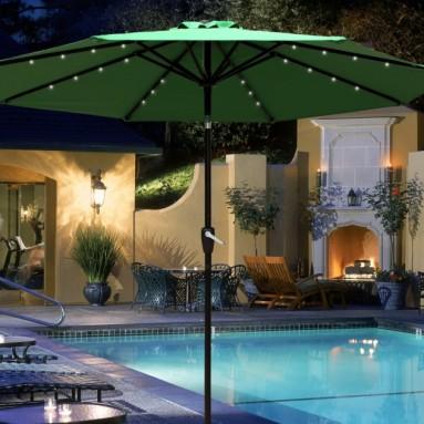 LED Solar Lighted Patio Umbrella Garden