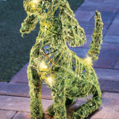 Lighted Moss Dog Outdoor Yard Display