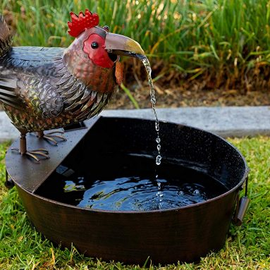 Metal Rooster Outdoor Water Fountain