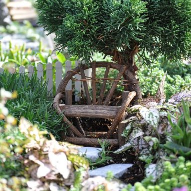 Miniature Fairy Garden Vine Twig Bench