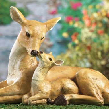 Mother and Fawn Deer Garden Statue Decor