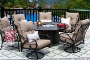 Newport Cast Aluminum Outdoor Patio 7pc Set 60 Inch Round Dining Fire Table