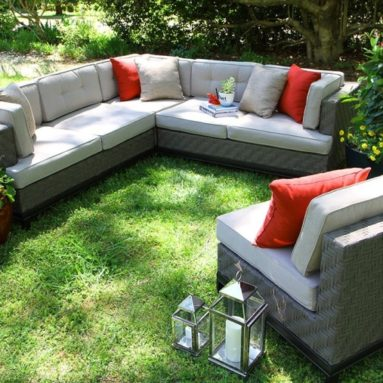 Outdoor 4-Piece Camilla All Weather Wicker Sectional with Sunbrella Fabric