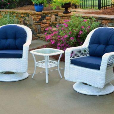 Outdoor Biloxi 3 Piece Swivel Patio Bistro Table Set
