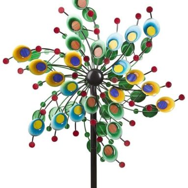 Outdoor Metal and Glass Confetti Garden Wind Spinner Decorative