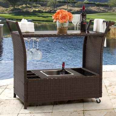 Outdoor Patio Wicker Serving Bar