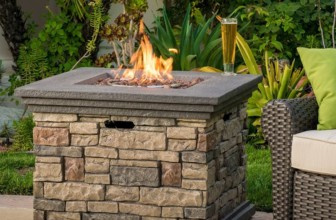Outdoor Square Liquid Propane Fire Pit with Lava Rocks
